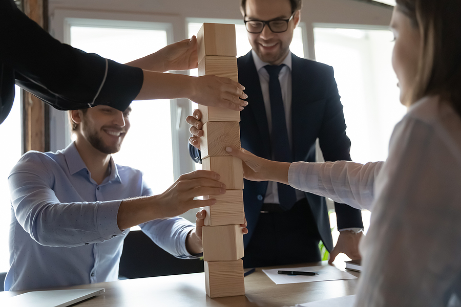 Employees while doing corporate team building activities